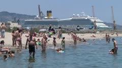 Catania city beach. Port of Catania with cruise ship. Stock Footage
