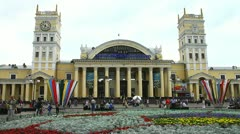 Kharkiv, square near railway station Stock Footage