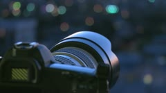 Camera with Citylights Stock Footage