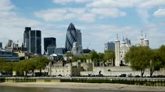 Tower of London The Gherkin - stock footage