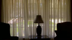 American living room lamp silhouette Stock Footage