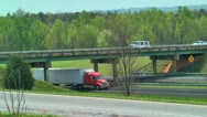 Semi truck eighteen wheeler flatbed 04 Stock Footage