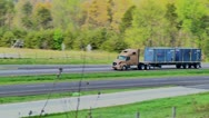 Stock Video Footage of semi truck eighteen wheeler flatbed 05