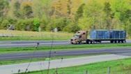 Semi truck eighteen wheeler flatbed 05 Stock Footage