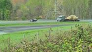 Semi truck eighteen wheeler flatbed 07 Stock Footage