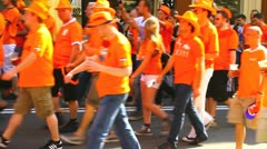 Dutch fans procession Stock Footage