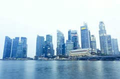 Singapore city skyline at dusk or night Stock Footage