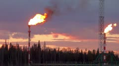 Oil torch (flaring of the oil associated gas) Stock Footage