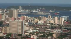 Durban harbour and city - stock footage