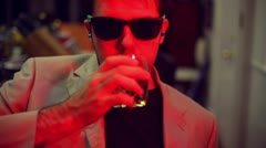 Drunkard drink drunk bar pub alcoholic wayfarer  alcohol drunk late night Stock Footage