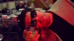 drunkard drink drunk bar pub alcoholic wayfarer alcohol - stock footage