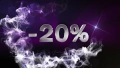 -20% Text in Particle (Double Version) Blue - HD1080 Stock Footage