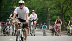 Central Park Bicycle Ride in New York City 25P PAL Stock Footage