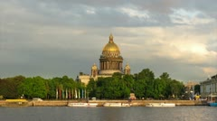 St. Isaac's Cathedral and Neva, St. Petersburg, Russia (timelapse) Stock Footage