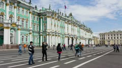 The State Hermitage in summer, St. Petersburg, Russia (timelapse) - stock footage