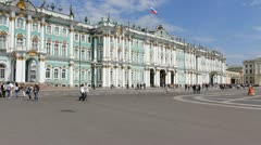 The State Museum Hermitage and palace square in summer, St. Petersburg, Russia Stock Footage