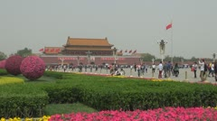 Forbidden city tourist people enjoy Tiananmen Square Beijing China landmark icon Stock Footage