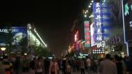 Stock Video Footage of Wangfujing pedestrian street by night, Beijing, China