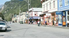 Skagway city downtown Alaska tourism P HD 8807 Stock Footage