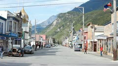 Skagway downtown mountains P HD 8820 - stock footage