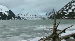 Portage Glacier Cloudy Lake and Ice Waves Stock Footage