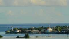Shipping Port on Tropical Pacific Island Stock Footage