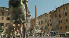 Horse & cart at Piazza della Rotonda, Pantheon,  Rome Stock Footage