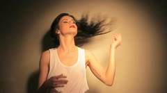 Woman shaking her hair Stock Footage