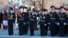 The parade in honor of Victory Day. Stock Footage