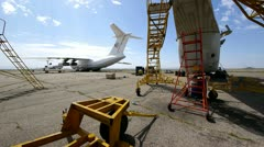 Cargo plane and helicopter Stock Footage