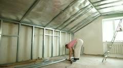 Installation of gypsum plasterboard ceilings Stock Footage