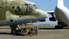 Cargo plane and helicopter 2 Stock Footage