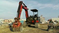 Excavator parking Okinawa Islands 01 Stock Footage