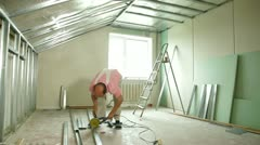 Angle Grinder Cutting Drywall Stud Stock Footage