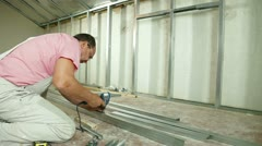 Plasterboard wall facing - stock footage