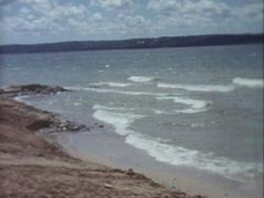 Tide on the Beach - Vintage 8mm - stock footage