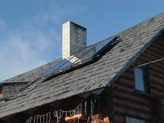 solar collectors on roof - stock footage