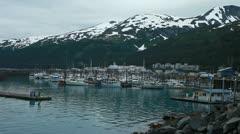 Whittier Alaska marina evening P HD 8100 Stock Footage