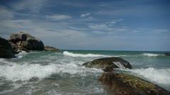 Stock footage stones wave sky beautiful seascape Stock Footage