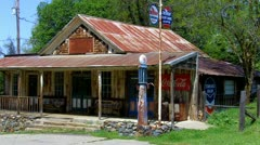 Old Post Office & Gas Station Circa 1930s- Zoom - stock footage