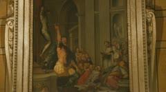 Painting (3) Inside San Luigi dei Francesi, Rome Stock Footage