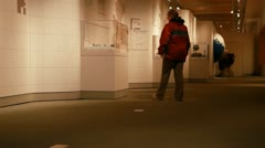 Woman in museum gallery P HD 8041 Stock Footage