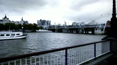 London Eye Pier  Golden Jubilee Bridges Stock Footage