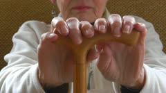 Old woman's arthritic hands - stock footage