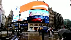 London Picadilly Circus Screens Stock Footage