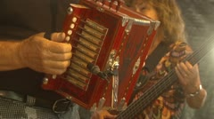 Closeup of Man Playing Accordion Stock Footage