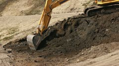 Excavator Bucket Shovel Scooping med close Stock Footage