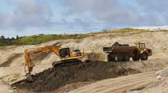 Excavator and Dump Truck Working at  Job Site Stock Footage