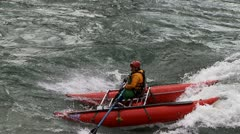 River rafting oarboat Stock Footage