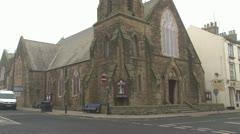 Church on Street Corner Stock Footage